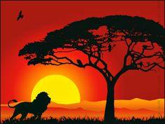 beautiful sunset in jungle lion king Sunset Silhouette, Silhouette Painting, Animal Silhouette, King Painting, African Sunset, African Art Paintings, African Theme, Arte Disney, Beautiful Sunset