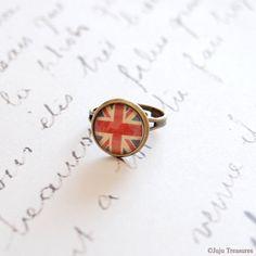 Union Jack Ring... United Kingdom, UK, Britain, British Flag... Antique Brass, Glass Dome...