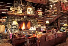 love all of the rich texture in this cabin