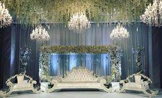 Our chandeliers for luxury wedding www. Indian Wedding Stage, Wedding Stage Backdrop, Wedding Hall Decorations, Wedding Ceremony Arch, Wedding Altars, Backdrop Decorations, Dubai Wedding, Luxury Wedding, Lebanese Wedding