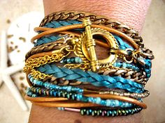 """Boho Chic Endless Leather Wrap Chunky Beaded Bracelet with Gold Accents """"Gold Rush""""....""""FREE SHIPPING""""    by LeatherDiva, $38.00"""