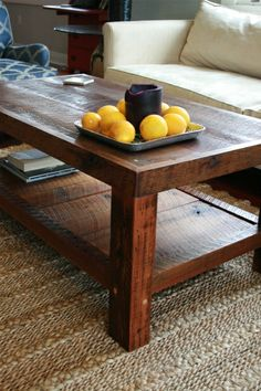 Oversized Coffee Table Made From New Orleans Barge Board