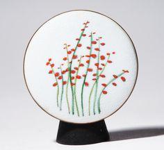 de Passille Sylvestre broche - fleur sauvage - Cardinal rouge Lobelia - moderniste Quebec Canada - Laurentides fleure 1967