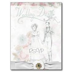 Vintage Wedding Invitation RSVP with Photo Postcard
