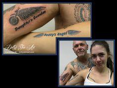 daughter's guardian daddy's angel motorcycle wings black blue tattoo kamloops dolly's skin art
