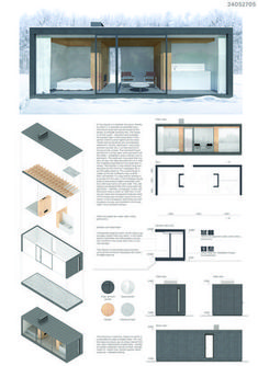 Gallery of 4 Tiny Houses Selected as Winners in the Ryterna modul Architectural . - Gallery of 4 Tiny Houses Selected as Winners in the Ryterna modul Architectural Challenge 2018 – - Presentation Board Design, Architecture Presentation Board, Architectural Presentation, Portfolio Presentation, Architectural Models, Architectural Drawings, Module Architecture, Interior Architecture, Rendering Architecture