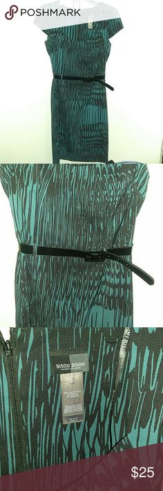 Bisou Bisou Dress 👗 . Size 8 Pretty Teal and Black dress with belt. Size 8 from Bisou Bisou polyester and spandex material. EUC. Bisou Bisou Dresses Midi