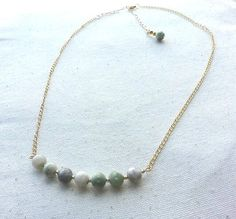 Shades of Green Stone and Gold Necklace