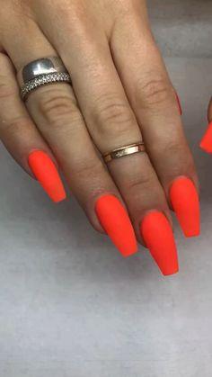 Neon orange nails  Acrylics