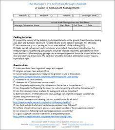 Restaurant Forms & Checklists, Restaurant Consultants,