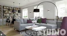 nowoczesny salon szarosci i fiolet - zdjęcie od MIKOŁAJSKAstudio - Salon - Styl…