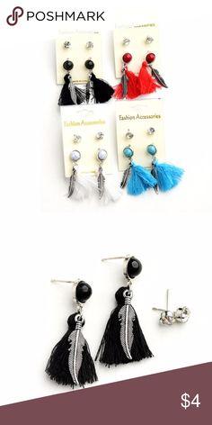 Feather Shape Gem & Stone Drop Earrings Feather Shape Gem & Stone Drop Earrings Available only in Black Jewelry Earrings
