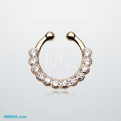 Golden Glistening Multi-Gem Fake Septum Clip-On Ring