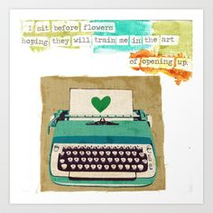 love letter Art Print #art #letter #opening #quotes #heart #typewriter #love #vulnerability #watercolor #mixedmedia