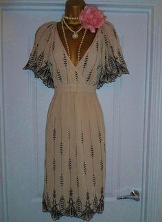 Gatsby 20er Jahre Kleid Oasis Flapper Charleston Burlesque Nude Gr. 40 in Kleidung & Accessoires, Damenmode, Kleider | eBay