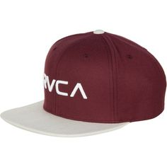 RVCA Twill III Snapback Hat (39 CAD) ❤ liked on Polyvore featuring accessories, hats, rvca snapback, snap back hats, snapback hats, logo hats and rvca