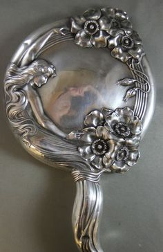 """~ Art Nouveau """"Unger Brothers"""" Sterling Silver Mirror Lady and Roses Vanity mirror~ (1904)"""