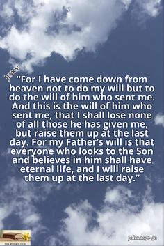 "John 6:38-40 / ""For I have come down from heaven not to do my will but to do the will of him who sent me. And this is the will of him who sent me, that I shall lose none of all those he has given me, but raise them up at the last day. For my Father's will is that everyone who looks to the Son and believes in him shall have eternal life, and I will raise them up at the last day."" / Jesus:"