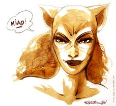Catwoman #art made with coffee and markers
