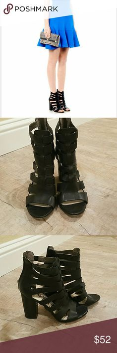 """Sam Edelman Yasmine sandal 100% Leather Imported Synthetic sole Heel measures approximately 4"""" Block heel sandal with wide strap design Flexible stretch inset at the ankle Zip entry Sam Edelman Shoes"""