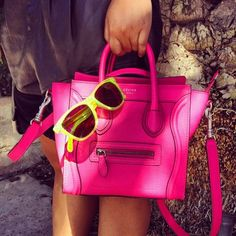 pink celine with neon yellow pop. Details In Streetstyle