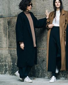 Buy ROUCHA Long collarless coat with dropped shoulders and wide, cropped sleeves. Long Winter Coats, Long Coats, Schwarzer Mantel Outfit, Black Coat Outfit, Winter Looks, Fashion Closet, Winter Coat Outfits, Mode Mantel, Black Wool Coat