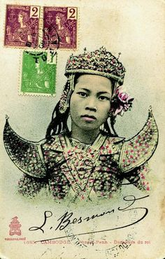 Royal Dancer, Phnom Penh, #Cambodia | Picture Postcards of Cambodia [1900-1950] by Joel G. Montague.