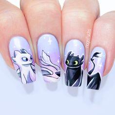 Toothless and Light Fury Nails by nagelfuchs Nail Art Disney, Disney Acrylic Nails, Summer Acrylic Nails, Best Acrylic Nails, Cute Nail Designs, Acrylic Nail Designs, Cartoon Nail Designs, Animal Nail Designs, Swag Nails