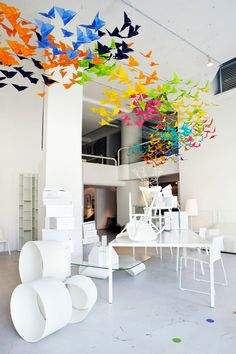 A fluttering swirl of origami butterflies, I love this fusion of design installation and styling by Elixr and Dream Interiors. Created for annual design event Saturday in Design, the butterflies make a striking piece of art but also highlight the clean lines of Dream Interiors' white furniture collection and Kiki K's storage boxes. Neutral yet lushly vibrant, it's a match made in styling heaven…