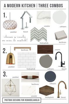 Postbox Designs E-Design 5 Day Challenge: 3 Ways to Makeover Your Kitchen, 3 Modern Kitchen Designs