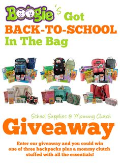 Back-to-School giveaway from Boogie Wipes. Three winners will win a backpack and mommy clutch - full of school supplies, gift cards and more! #boogiewipes