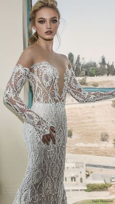 dany mizrachi spring 2018 bridal long sleeves off the shoulder deep plunging sweetheart neckline full embellishment sexy fit and flare mermaid wedding dress sheer back sweep train (2) zv
