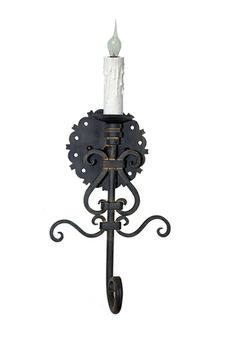 Single hand forged iron wall sconce by www.haciendalights.com
