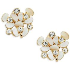 Kate Spade New York Disco Pansy Cluster Clip Earrings ($68) ❤ liked on Polyvore featuring jewelry, earrings, white, kate spade, clip back earrings, charm earrings, white clip earrings and kate spade earrings