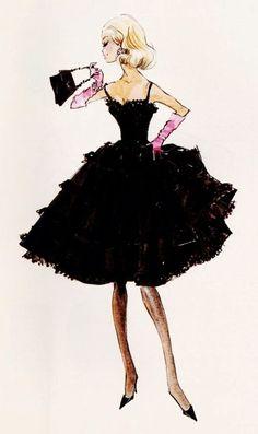 "Design sketch for Barbie fashion ""Black Enchantment"" by Robert Best. Barbie since I was little girl. Fashion Moda, Fashion Art, Vintage Fashion, Fashion Black, Fashion Trends, Up Girl, Girly Girl, Modelos Fashion, Vogue"