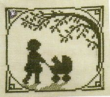 Handblessings Stitch Chart Spring 2013 Silhouette KITTY BUGGY RIDE with Charm