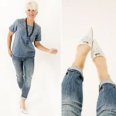Old Navy patch jeans and target blue peasant top