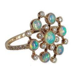 Dalben Australian Opal Diamond Gold Ring by Laura Dalben, Century Opal Jewelry, Jewelry Box, Jewelry Rings, Jewelery, Vintage Jewelry, Diamond Jewelry, Gold Jewellery, Diamond Rings For Sale, Gold Diamond Rings