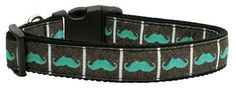 Mirage Pet Products Aqua Moustaches Ribbon Dog Collar, Medium * See this great product. (This is an affiliate link and I receive a commission for the sales)