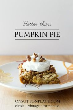 6 ingredients and just a few minutes turns out this dessert that's better than pumpkin pie. And a whole lot easier! Link also includes a great pumpkin bread recipe. #spon