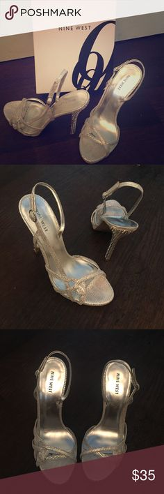 "Silver Strappy Heels Wore once for a wedding. Nine West leather strappy silver sandals. 4"" heel. Adjustable strap Nine West Shoes Heels"