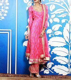 Pink Bandhani Anarkali Kurta With Straight Pants