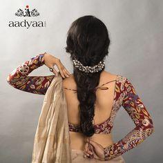 Full sleeve Kalamkari blouse Also the headband! Saree Blouse Neck Designs, Fancy Blouse Designs, Kalamkari Blouse Designs, Full Sleeves Blouse Designs, Blouse Patterns, Saris, Kalamkari Dresses, Kalamkari Saree, Kalamkari Blouses