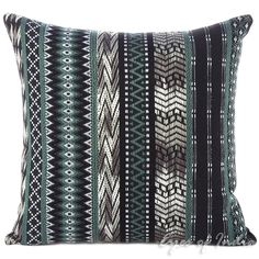 """Black and Grey Dhurrie Decorative Throw Pillow Cushion Cover - 16"""", 24"""" 