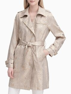 an updated classic, this trench coat is made with a snake brocade design and double breasted styling. Outerwear Women, Outerwear Jackets, Double Breasted Trench Coat, Jackets For Women, Clothes For Women, Womens Clearance, Men Dress, Winter Fashion, Calvin Klein