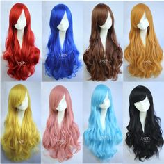 Cosplay Party Long Curly Hair Anime Wigs Full Hair Wig 7 Colors US STOCK — FAST #Cosplay