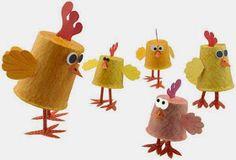 Animais da fazenda com material reciclável - galinha     Muitas ideias para você fazer os bichinhos da fazenda com sucata na Educação Infa...