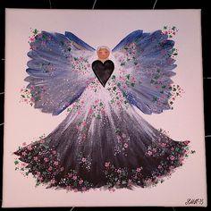 Canvastavla akyl 30x30 cm. #handmade #handgjort #canvas  #akryl  #angel #ängel #flowers #blommor #glitter #polymerclay  #heart  #hjärta #painting #målning
