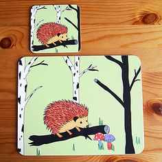 Happy Hedgehog Placemat And Coaster Set - placemats & coasters