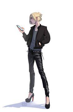 He would totally do this though Character Concept, Character Art, Yurio And Otabek, Manga, Deadman Wonderland, Yuri Plisetsky, Gay Art, Yuri On Ice, Anime Ships